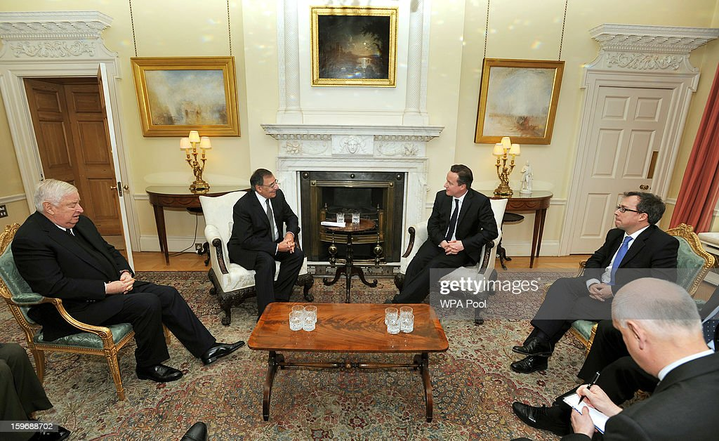 Prime Minister <a gi-track='captionPersonalityLinkClicked' href=/galleries/search?phrase=David+Cameron+-+Politico&family=editorial&specificpeople=227076 ng-click='$event.stopPropagation()'>David Cameron</a> meets with Leon Panetta the US Secretary of State for Defence at number 10, Downing Street on January 18, 2013 in London, United Kingdom. The Defense Secretary is currently on a week-long through Europe.