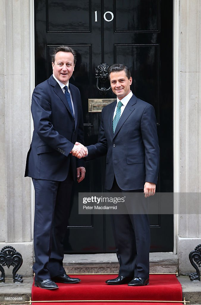 Prime Minister <a gi-track='captionPersonalityLinkClicked' href=/galleries/search?phrase=David+Cameron+-+Politico&family=editorial&specificpeople=227076 ng-click='$event.stopPropagation()'>David Cameron</a> (L) meets with President Enrique Pena Nieto of Mexico at Downing Street on March 4, 2015 in London, England. President Nieto is on day two of a three day State visit to the United Kingdom.