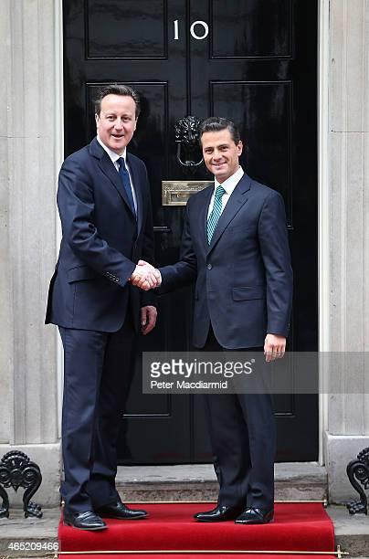 Prime Minister David Cameron meets with President Enrique Pena Nieto of Mexico at Downing Street on March 4 2015 in London England President Nieto is...