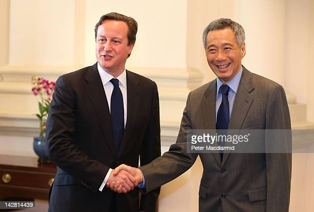 Prime Minister David Cameron meets with Prime Minister Lee Hsien Loo on April 13 2012 in Singapore Mr Cameron is on the last day of a five day visit...