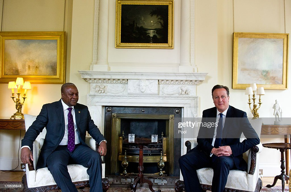 Prime Minister David Cameron (R) meets with the President of Ghana, John Dramani Mahama at Number 10 Downing Street on June 14, 2013 in London, England. The leaders met prior to their Lancaster House gathering with other heads of state for the G8 Summit.