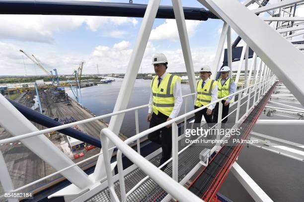 Prime Minister David Cameron on a gantry crane at the Port of Tyne in Tyne and Wear as he visited the area with Martin Callanan MEP and the Ports's...