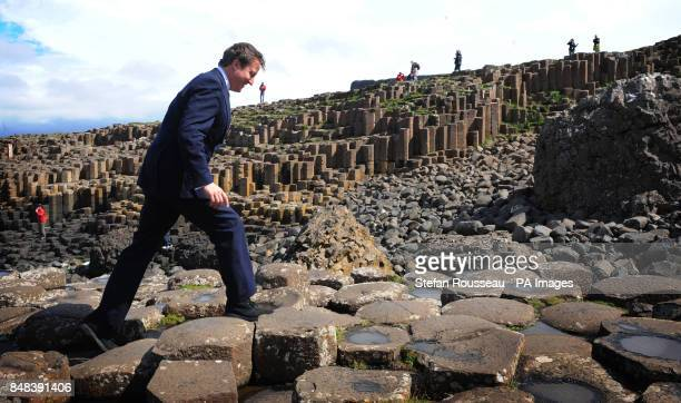 Prime Minister David Cameron on the Giant's Causeway in County Antrim where he saw the new visitor's centre