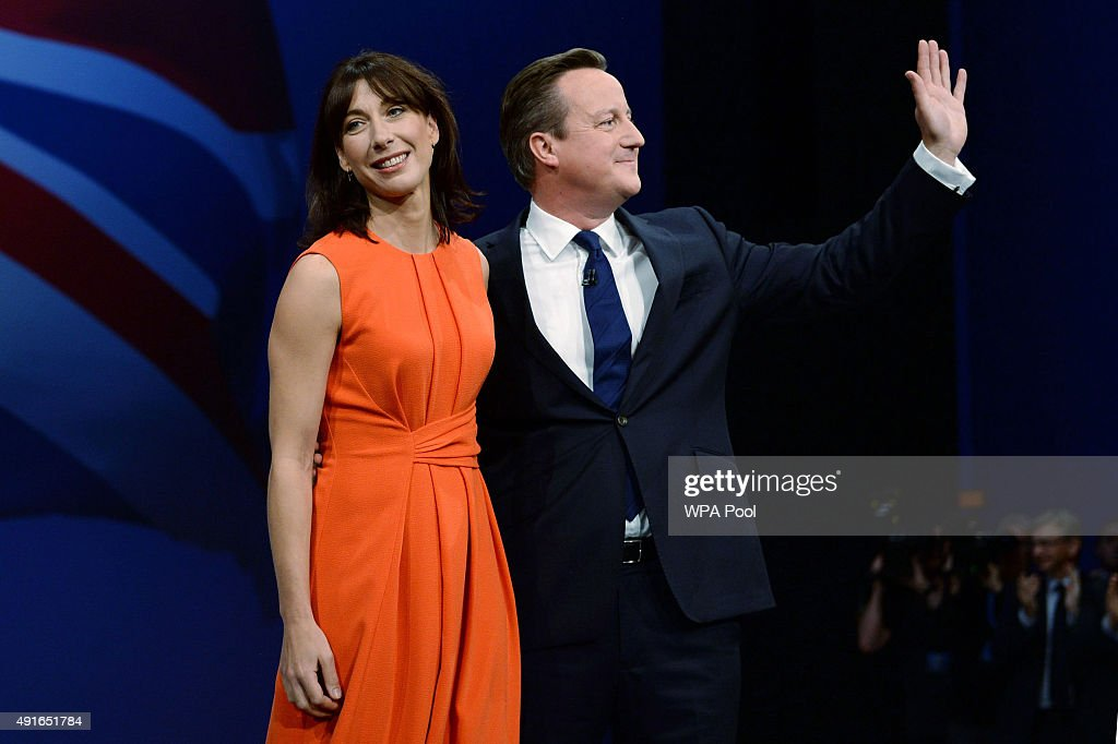 Prime Minister David Cameron poses with wife Samantha after his keynote speech on the fourth and final day of the Conservative Party Conference, at Manchester Central on October 7, 2015 in Manchester, England. Mr Cameron has announced plans to encourage developers to build 200,000 new 'affordable' homes for first time buyers. The initiative is set up to secure the homes by the end of the parliament, and is one of the key election pledges of the Conservative's election campaign.