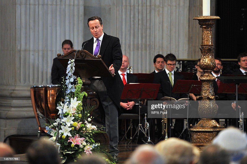 Prime Minister <a gi-track='captionPersonalityLinkClicked' href=/galleries/search?phrase=David+Cameron+-+Politician&family=editorial&specificpeople=227076 ng-click='$event.stopPropagation()'>David Cameron</a> reads during the service of thanksgiving to mark the Queen's Diamond Jubilee at St Paul's cathedral on June 5, 2012 in London, England. For only the second time in its history the UK celebrates the Diamond Jubilee of a monarch. Her Majesty Queen Elizabeth II celebrates the 60th anniversary of her ascension to the throne today with a carriage procession and a service of thanksgiving at St Paul's Cathedral.