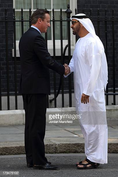 Prime Minister David Cameron shakes hands with the Crown Prince of Abu Dhabi Mohammed bin Zayed Al Nahyan at Downing Street on July 15 2013 in London...