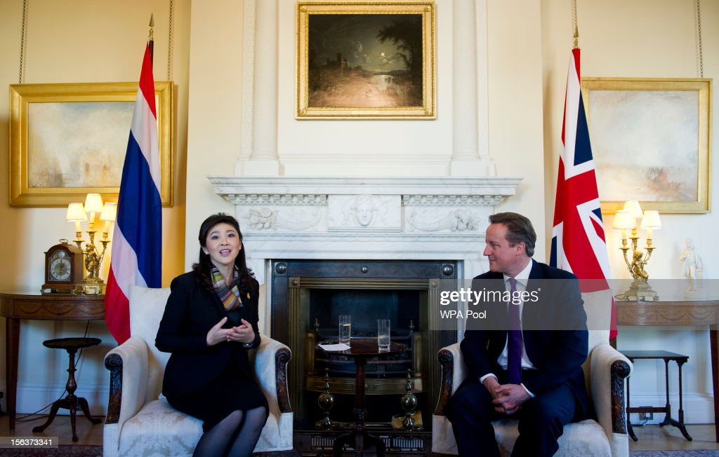 Prime Minister David Cameron sits with Thailand Prime Minister Yingluck Shinawatra inside N10 Downing Street on November 14, 2012 in London, England. The meeting is due to focus on trade relations, specifically increased cooperation on tourism, trade and investment.