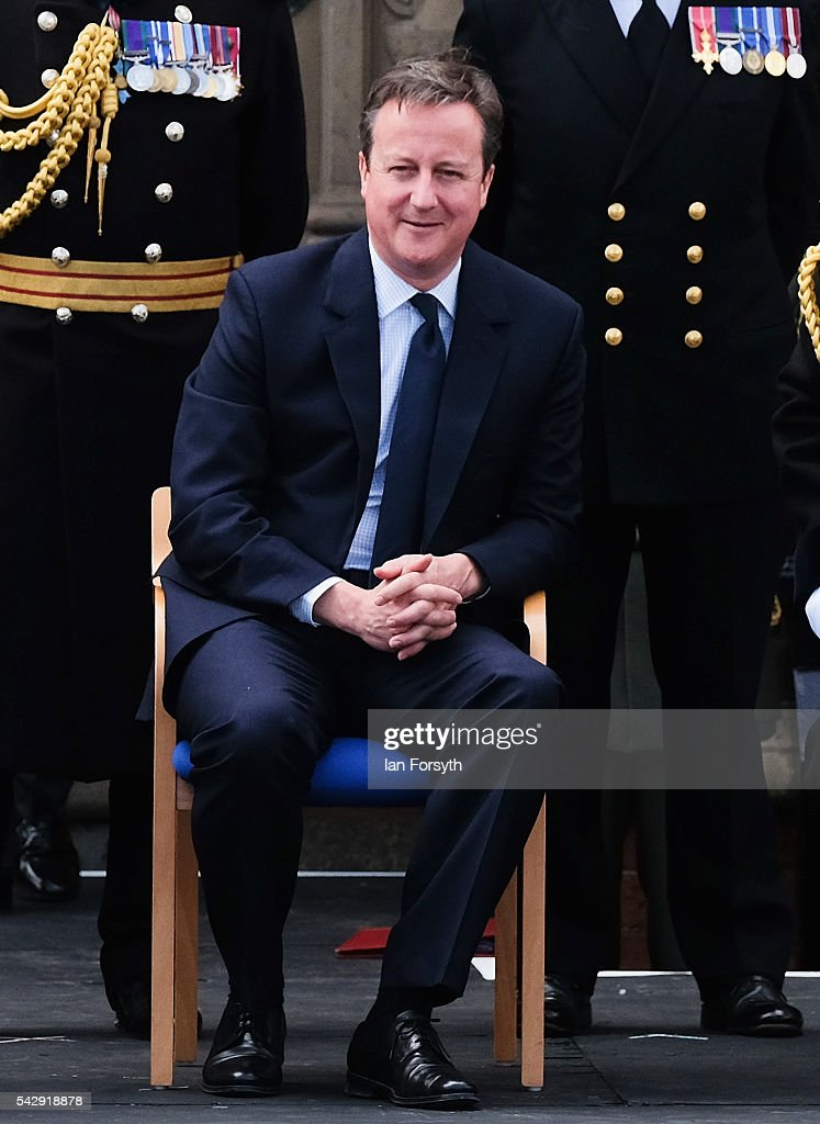 Prime Minister David Cameron smiles as he watches the main military parade during the Armed Forces Day National Event on June 25, 2016 in Cleethorpes, England. The visit by the Prime Minister came the day after the country voted to leave the European Union. Armed Forces Day is an annual event that gives an opportunity for the country to show its support for the men and women in the British Armed Forces.