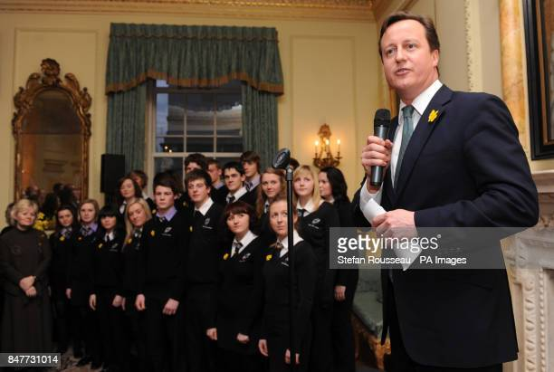 Prime Minister David Cameron speaks at a reception at Downing Street to mark St David's Day attended by various Welsh notables including a choir from...