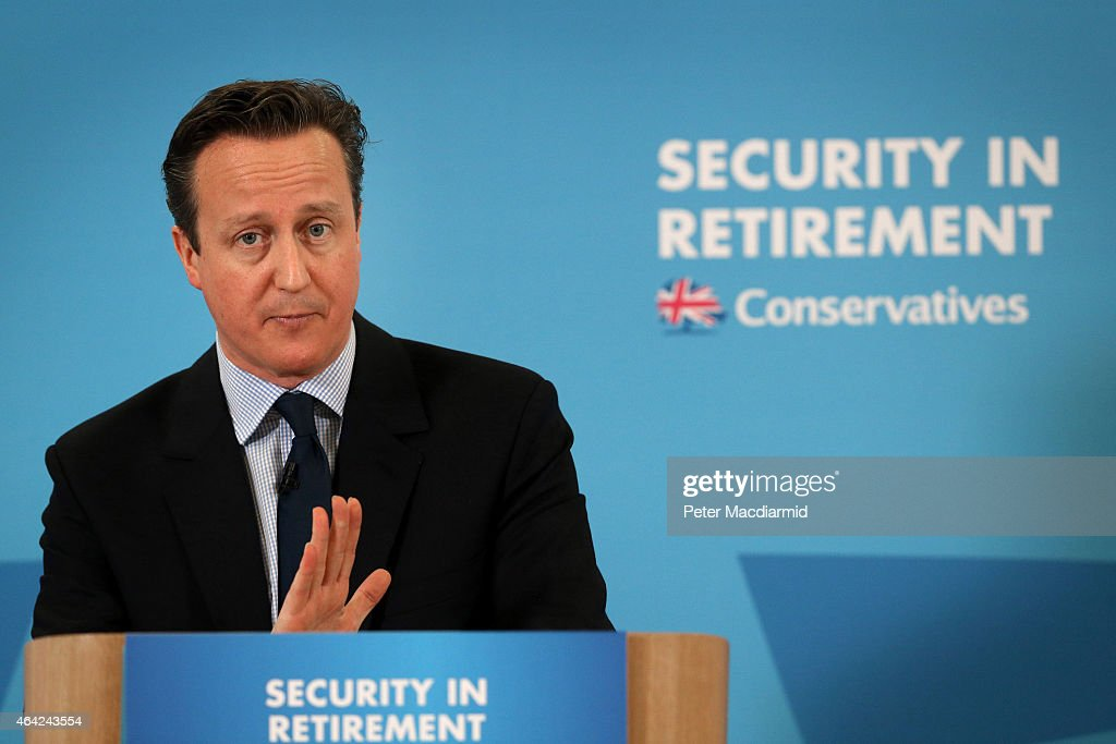 Prime Minister David Cameron speaks at SAGA on February 23, 2015 in Hastings, England. Mr Cameron has stated that universal benefits for pensioners will be protected if the Conservative party win the upcoming general election.