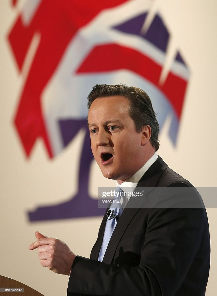 Prime Minister <a gi-track='captionPersonalityLinkClicked' href=/galleries/search?phrase=David+Cameron+-+Homme+politique&family=editorial&specificpeople=227076 ng-click='$event.stopPropagation()'>David Cameron</a> speaks at the Conservative Party's annual Spring Forum on March 16, 2012 in London, England. Cameron addressed his Tory party, harkening values of past leaders as Margaret Thatcher and Winston Churchill, days before next week's Budget is announced.