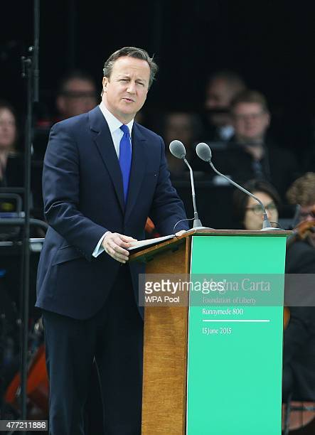 Prime Minister David Cameron speaks at the Magna Carta memorial during a ceremony to celebrate the 800th anniversary of the Magna Carta on June 15...