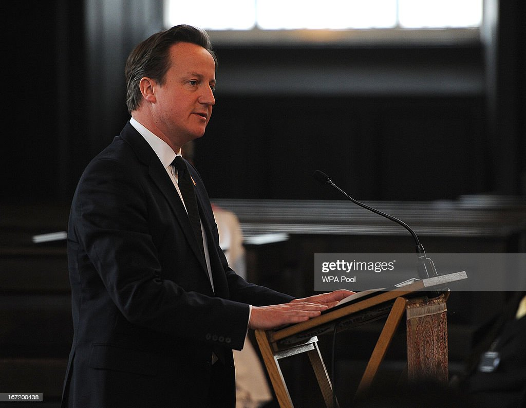Prime Minister David Cameron speaks during a memorial service for Stephen Lawrence at St Martin-in-the-Fields Church on April 22, 2013 in London, England. Stephen Lawrence, a black A-level student was stabbed to death at a bus stop twenty years ago by a gang of white youths in a racially motivated attack in Eltham, south-east London, on April 22, 1993. Two men, Gary Dobson and David Norris were found guilty of his murder in January 2012.