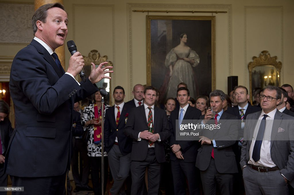 Prime Minister <a gi-track='captionPersonalityLinkClicked' href=/galleries/search?phrase=David+Cameron+-+Politician&family=editorial&specificpeople=227076 ng-click='$event.stopPropagation()'>David Cameron</a> speaks during an official reception at Downing Street on September 16, 2013 in London, England. The reception was to mark the British Lions victorious tour of Australia in the summer.