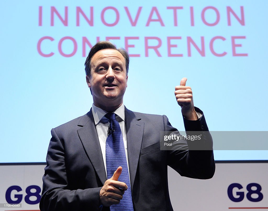 Prime Minister David Cameron speaks during the G8 Innovation Conference, attended by 300 leading international entrepreneurs, researchers, scientists, designers and policy makers, at the Siemens Crystal Building on June 14, 2013 in London, England. Cameron spoke ahead of meetings with other heads of state attending the 39th G8 Summit, to be held June 17-18 in Northern Ireland.