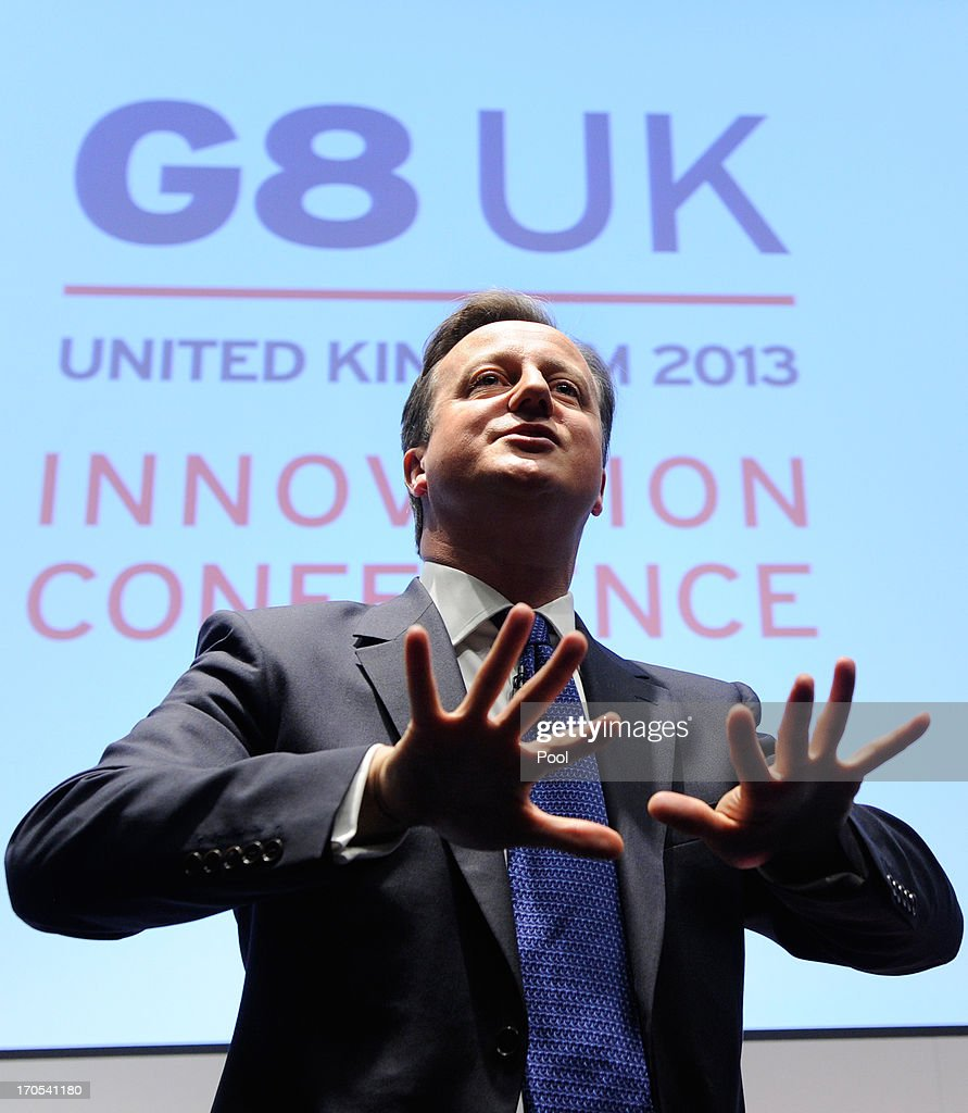 Prime Minister <a gi-track='captionPersonalityLinkClicked' href=/galleries/search?phrase=David+Cameron+-+Politician&family=editorial&specificpeople=227076 ng-click='$event.stopPropagation()'>David Cameron</a> speaks during the G8 Innovation Conference, attended by 300 leading international entrepreneurs, researchers, scientists, designers and policy makers, at the Siemens Crystal Building on June 14, 2013 in London, England. Cameron spoke ahead of meetings with other heads of state attending the 39th G8 Summit, to be held June 17-18 in Northern Ireland.