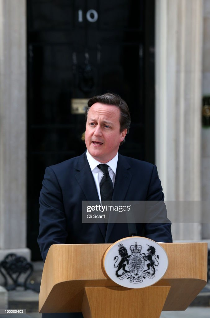 Prime Minister <a gi-track='captionPersonalityLinkClicked' href=/galleries/search?phrase=David+Cameron+-+Politician&family=editorial&specificpeople=227076 ng-click='$event.stopPropagation()'>David Cameron</a> speaks outside Downing Street following the death of former Prime Minister Margaret Thatcher on April 8, 2013 in London, England. Lord Bell, spokesperson for Baroness Margaret Thatcher, announced in a statement that the former British Prime Minister died peacefully following a stroke on 8th April, aged 87.