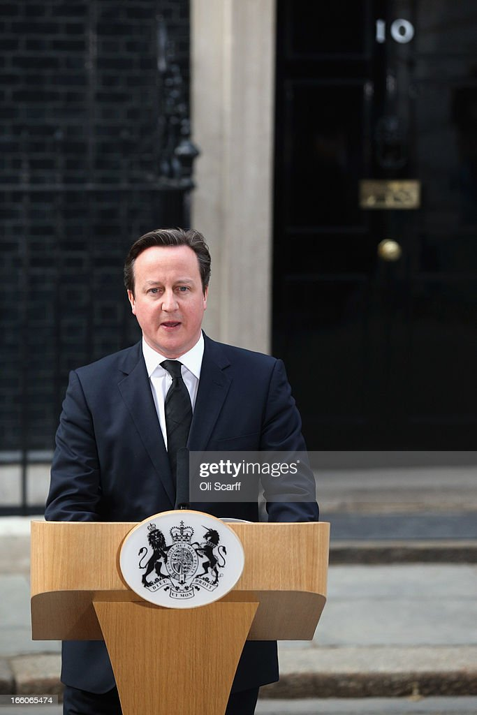 Prime Minister <a gi-track='captionPersonalityLinkClicked' href=/galleries/search?phrase=David+Cameron+-+Politician&family=editorial&specificpeople=227076 ng-click='$event.stopPropagation()'>David Cameron</a> speaks outside Downing Street following the death of former Prime Minister Baroness Margaret Thatcher on April 8, 2013 in London, England. It has been confirmed that Lady Thatcher has died this morning following a stroke aged 87. Margaret Thatcher was the first female British Prime Minster and governed the UK from 1979 to 1990. She led the UK through some turbulent years and contentious issues including the Falklands War, the miner's strike and the Poll Tax riots.