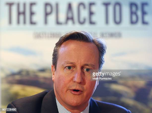 Prime Minister David Cameron speaks with members of the Lake District National Park Partnership Business Task Force at Allan Bank House on January 28...