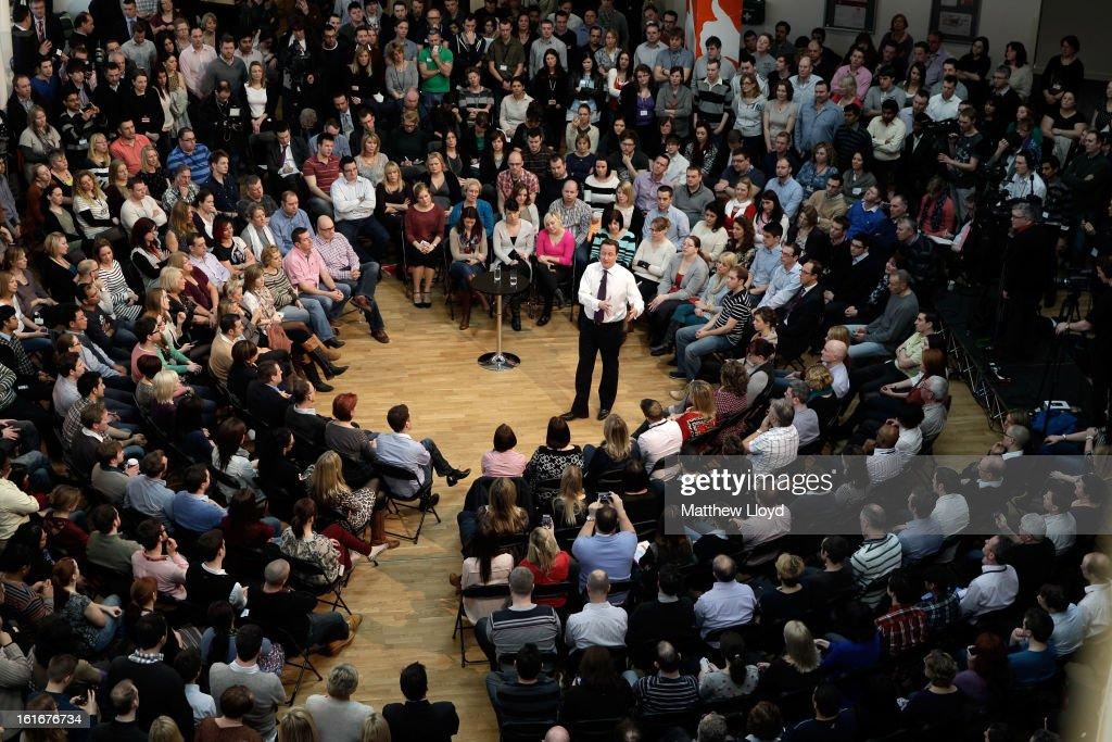 Prime Minister <a gi-track='captionPersonalityLinkClicked' href=/galleries/search?phrase=David+Cameron+-+Politician&family=editorial&specificpeople=227076 ng-click='$event.stopPropagation()'>David Cameron</a> talks to employees during a Cameron Direct session at B&Q House, in the run up to the imminent by-election, on February 14, 2013 in Eastleigh, Hampshire. A by-election has been called after it's former Liberal Democrat MP, Chris Huhne, resigned after pleading guilty to perverting the course of justice over claims his ex-wife took speeding points for him in 2003.