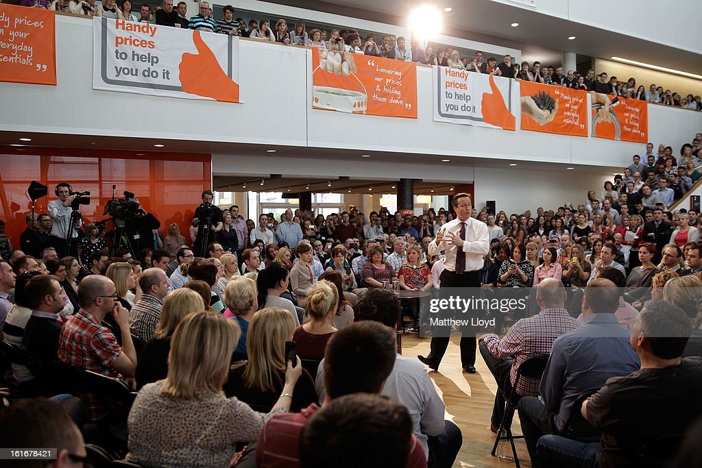 Prime Minister <a gi-track='captionPersonalityLinkClicked' href=/galleries/search?phrase=David+Cameron+-+Politician&family=editorial&specificpeople=227076 ng-click='$event.stopPropagation()'>David Cameron</a> talks to employees during a Cameron Direct session at B&Q House, in the run up to the imminent by-election, on February 14, 2013 in Eastleigh, Hampshire. A by-election has been called in the constituency of Eastleigh after its former MP, Chris Huhne, resigned after pleading guilty to perverting the course of justice over claims his ex-wife took speeding points for him in 2003.