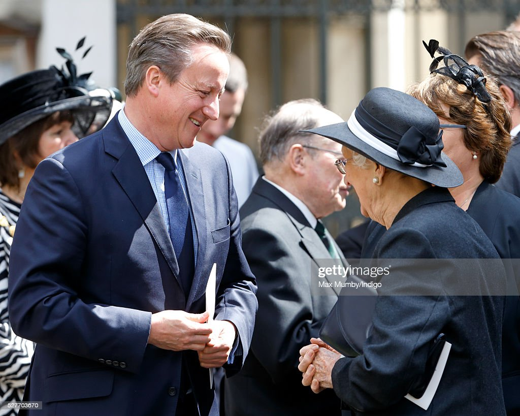 Prime Minister <a gi-track='captionPersonalityLinkClicked' href=/galleries/search?phrase=David+Cameron+-+Politico&family=editorial&specificpeople=227076 ng-click='$event.stopPropagation()'>David Cameron</a> talks with Elspeth Howe as they attend a Service of Thanksgiving for the life of Geoffrey Howe (Lord Howe of Aberavon) at St Margaret's Church, Westminster Abbey on May 3, 2016 in London, England. Conservative politician Geoffrey Howe who served as Chancellor of the Exchequer and Foreign Secretary during the 1980's died aged 88 on October 9, 2015.
