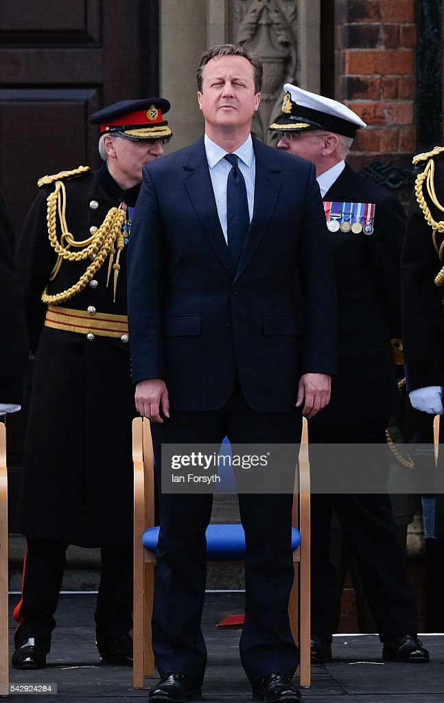 Prime Minister David Cameron watches the main military parade during the Armed Forces Day National Event on June 25, 2016 in Cleethorpes, England. The visit by the Prime Minister came the day after the country voted to leave the European Union. Armed Forces Day is an annual event that gives an opportunity for the country to show its support for the men and women in the British Armed Forces.
