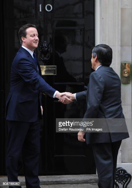 Prime Minister David Cameron welcomes his French counterpart Francois Fillon to Downing Street in London