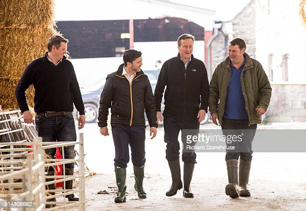 Prime Minister David Cameron with farm owners Richard and David Williams and Secretary of State for Wales Stephen Crabb during Visit to Tyfos Farm in...