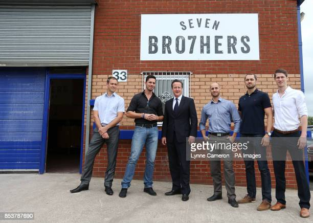 Prime Minister David Cameron with Guy Nathan Keith Kit and Greg McAvoy during his visit to a small business start up Seven Bro7hers brewery in Salford