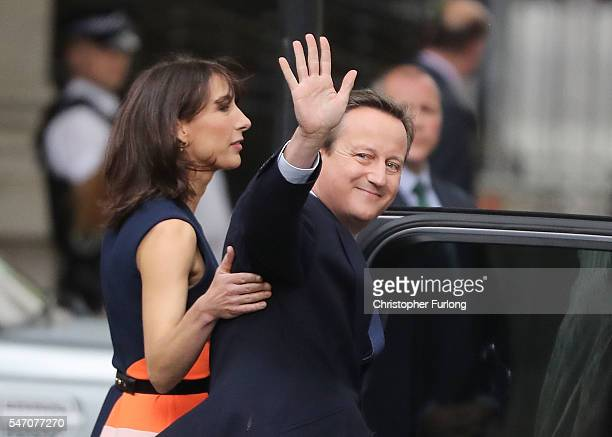 Prime Minister David Cameron with his wife Samantha leave 10 Downing Street for the last time after speaking to the press to visit Buckingham Palace...
