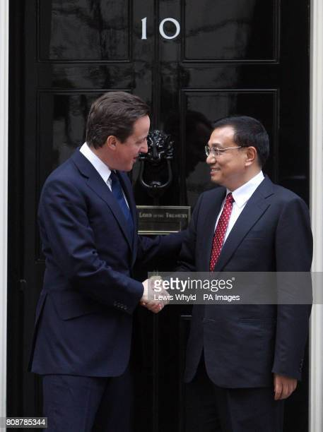 Prime Minister David Cameron with Vice Premier of China Li KeQiang on the steps of 10 Downing Street Westminster London