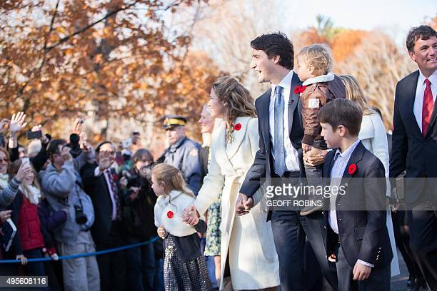Prime Minister designate Justin Trudeau arrives at Rideau Hall with his family to be sworn in as the 23rd Prime Minister of Canada in Ottawa Ontario...