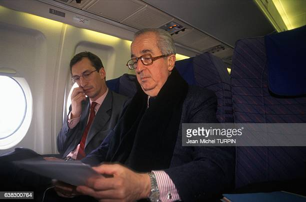 Prime minister Edouard Balladur and cabinet director Nicolas Bazire during electoral campaign for presidency in March 1995