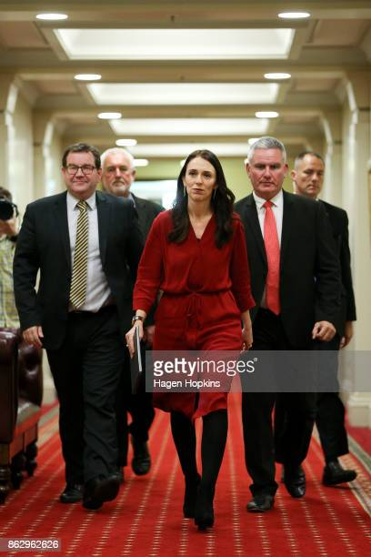 Prime Minister elect Jacinda Ardern arrives at a Labour Party announcement with Grant Robertson and Kelvin Davis at Parliament on October 19 2017 in...