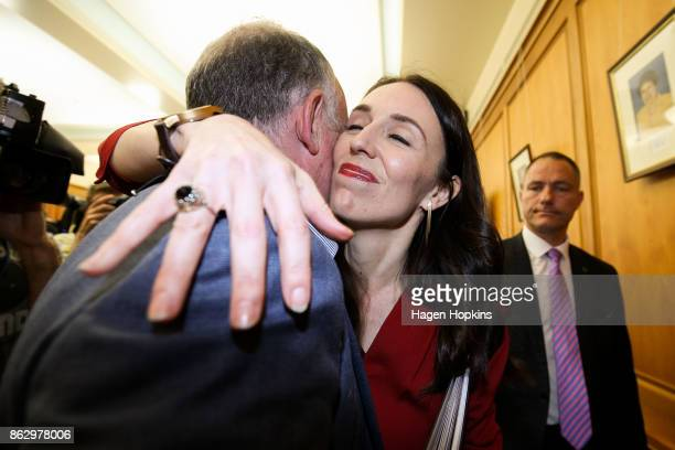 Prime Minister elect Jacinda Ardern hugs list MP Trevor Mallard during a Labour Party announcement at Parliament on October 19 2017 in Wellington New...