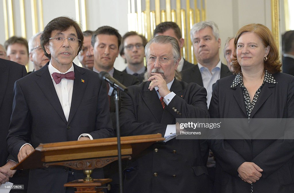 Prime Minister <a gi-track='captionPersonalityLinkClicked' href=/galleries/search?phrase=Elio+Di+Rupo&family=editorial&specificpeople=743705 ng-click='$event.stopPropagation()'>Elio Di Rupo</a> delivers a speech during the signing of the new institutional reforms with all the ministers of the Belgian Government on July 19, 2012 in Brussels, Belgium.