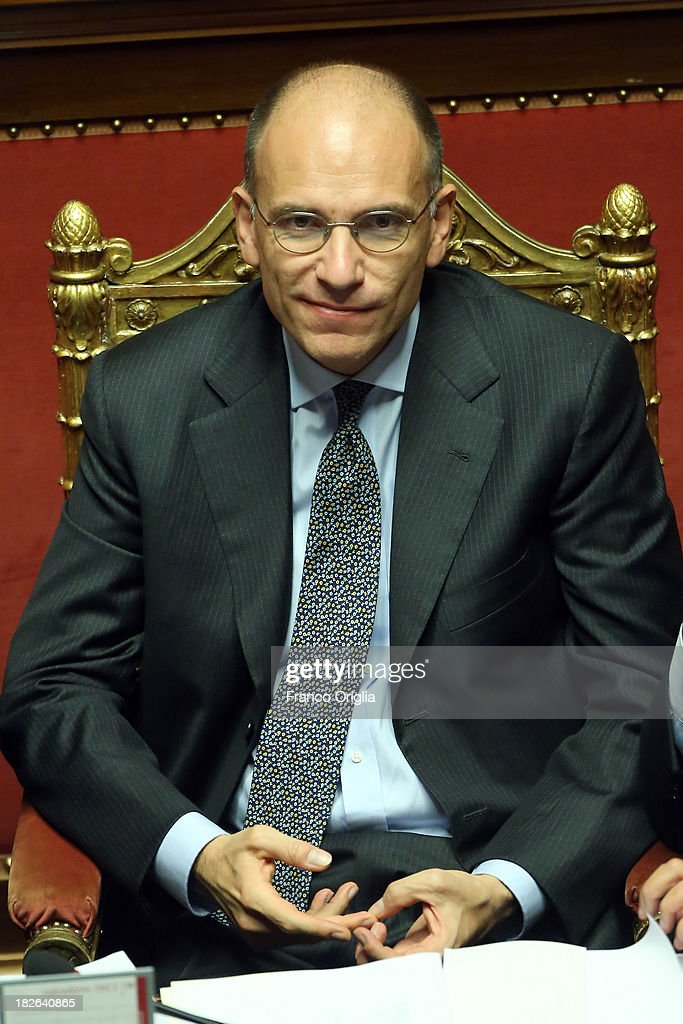 Prime Minister Enrico Letta attends the confidence vote for his government at the Italian Senate, Palazzo Madama on October 2, 2013 in Rome, Italy. After asking all his ministers to resign, Silvio Berlusconi changed his mind and voted in support of the government as Prime Minister Enrico Letta gained the confidence vote at the Italian Senate with 235 consents out of 321 seats.
