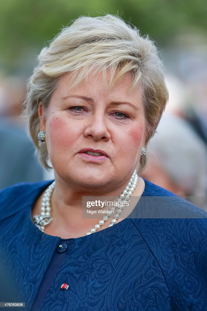 Prime Minister <a gi-track='captionPersonalityLinkClicked' href=/galleries/search?phrase=Erna+Solberg&family=editorial&specificpeople=6165203 ng-click='$event.stopPropagation()'>Erna Solberg</a> of Norway attends the unveiling of a statue of King Olav V at the City Hall Square on June 7, 2015 in Oslo, Norway.