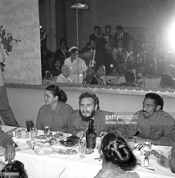 Prime Minister Fidel Castro holds a press conference at the Hotel Theresa in Harlem while visiting New York to address the United Nations in...