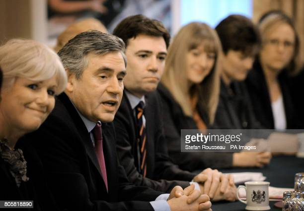 Prime Minister Gordon Brown and health secretary Andy Burnham meet nurses in the cabinet room in Downing Street London where he discussed the future...