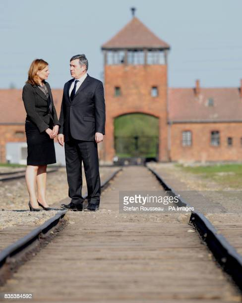 Prime Minister Gordon Brown and his wife Sarah Brown visit the concentration camp Birkenau near Krakow in Poland today