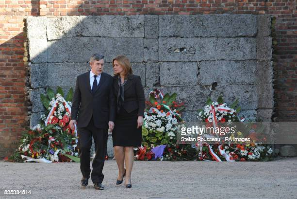 Prime Minister Gordon Brown and his wife Sarah Brown visit the Nazi concentration camp Auschwitz near Krakow in Poland today They laid a wreath at...
