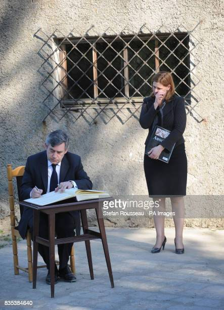 Prime Minister Gordon Brown and his wife Sarah Brown visit the Nazi concentration camp Auschwitz near Krakow in Poland today Mr Brown signed a...