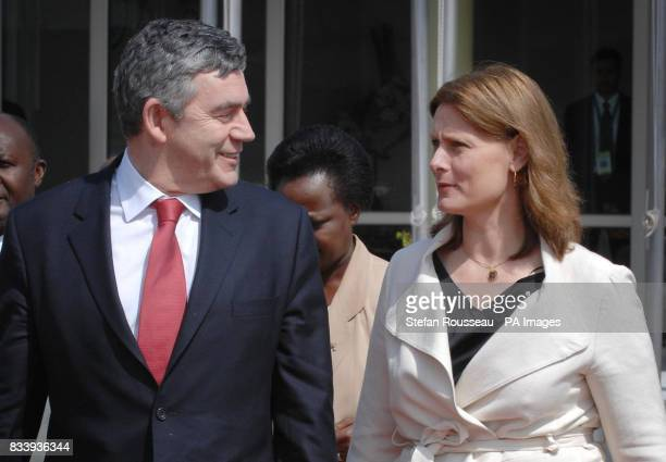 Prime Minister Gordon Brown and his wife Sarah prepare to board their flight at Entebbe Airport in Uganda after attending the Commonweath Heads of...