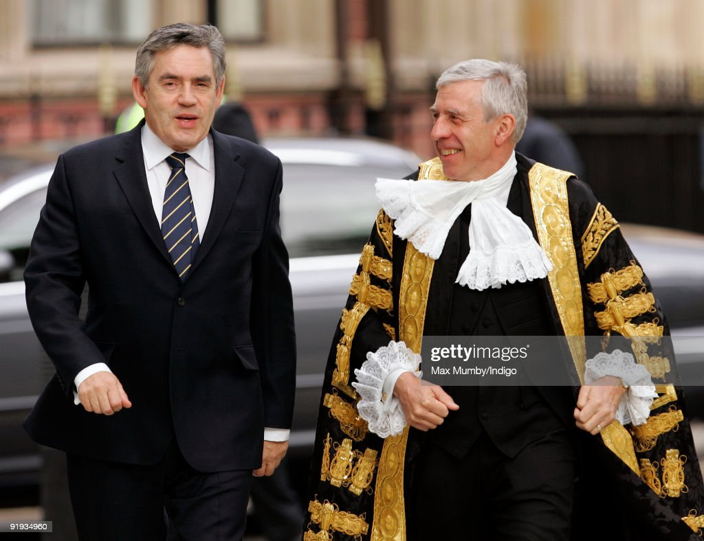 Prime Minister <a gi-track='captionPersonalityLinkClicked' href=/galleries/search?phrase=Gordon+Brown&family=editorial&specificpeople=158992 ng-click='$event.stopPropagation()'>Gordon Brown</a> and <a gi-track='captionPersonalityLinkClicked' href=/galleries/search?phrase=Jack+Straw&family=editorial&specificpeople=118608 ng-click='$event.stopPropagation()'>Jack Straw</a>, Lord Chancellor and Secretary of State for Justice attend the opening of The Supreme Court of the United Kingdom on October 16, 2009 in London, England.