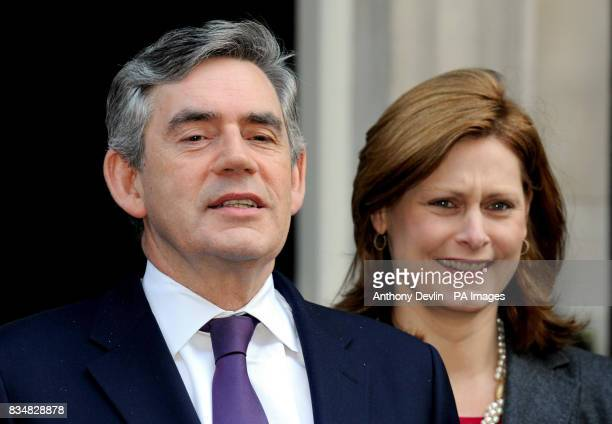 Prime Minister Gordon Brown and wife Sarah pose with Pride of Britain award winners outside Downing Street London following the awards ceremony last...