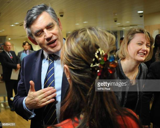Prime Minister Gordon Brown and Work and Pensions Secretary Yvette Cooper meet staff as they visit a Job Centre Plus January 20 2010 in Marylebone...