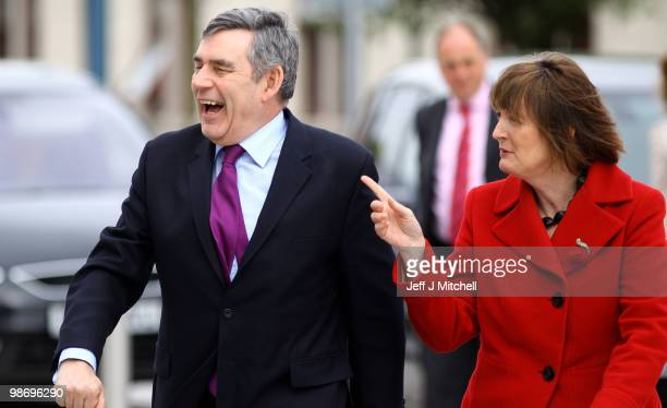 Prime Minister Gordon Brown arrives with Harriet Harman at the Raploch Community Campus on April 27 2010 in Stirling Scotland The General Election to...