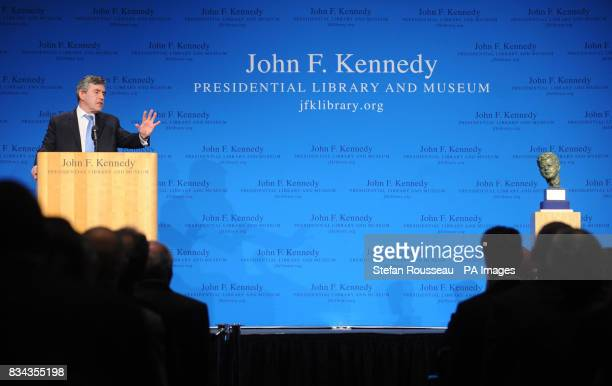 Prime Minister Gordon Brown delivers a speech at the John F Kennedy Library in Boston today to an audience of business political and academic leaders...